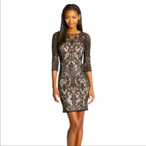 Adrianna Papell Lace Cocktail Dress Black LBD 14